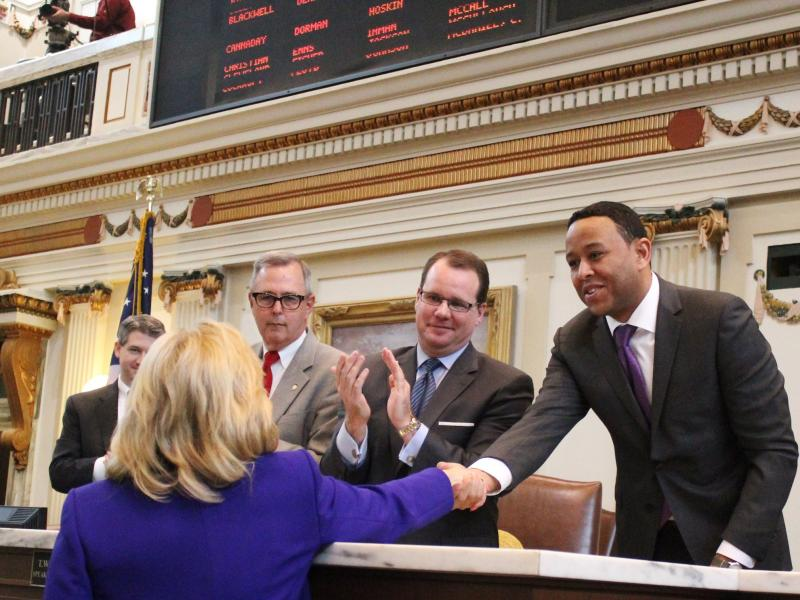 House Speaker T.W. Shannon (R-Lawton) shakes Gov. Mary Fallin's hand shortly before her State of the State address - February 3, 2014.