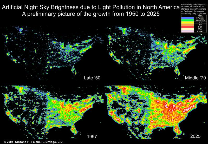 The growth of light pollution in the United States from the 1950s to the 1990s, and what light pollution might look like in 2025.