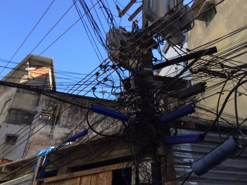 "Electrical ""infrastructure"" in one of Rio's largest favela communities."