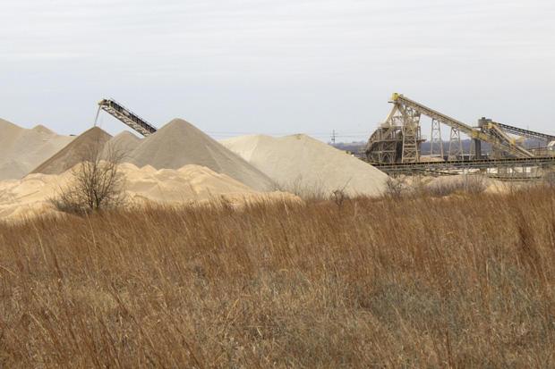 An active aggregate mining operation near Mill Creek, Okla.