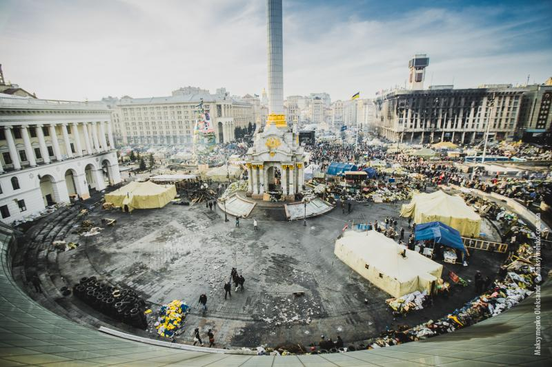 The aftermath of protests in Kiev's Independence Square - February 26, 2014.
