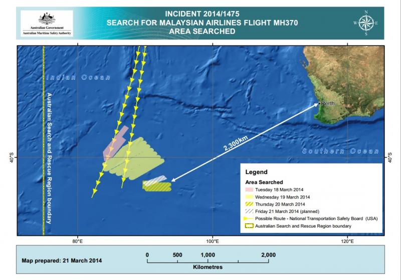 The cumulative area explored over four days by the Australian Maritime Search Agency.