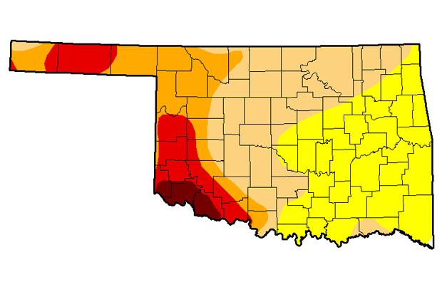 The latest U.S. Drought Monitor map of Oklahoma as of February 25, 2014.