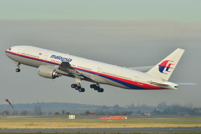 The missing plane, Malaysia Airlines Boeing 777-200ER (9M-MRO), taking off at Roissy-Charles de Gaulle Airport (LFPG) in France in 2011.