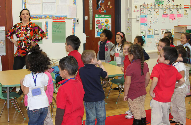 "Lee Elementary School pre-kindergarten teacher Victoria Tsaras gets active with her students, dancing to ""What Does the Fox Say?"""