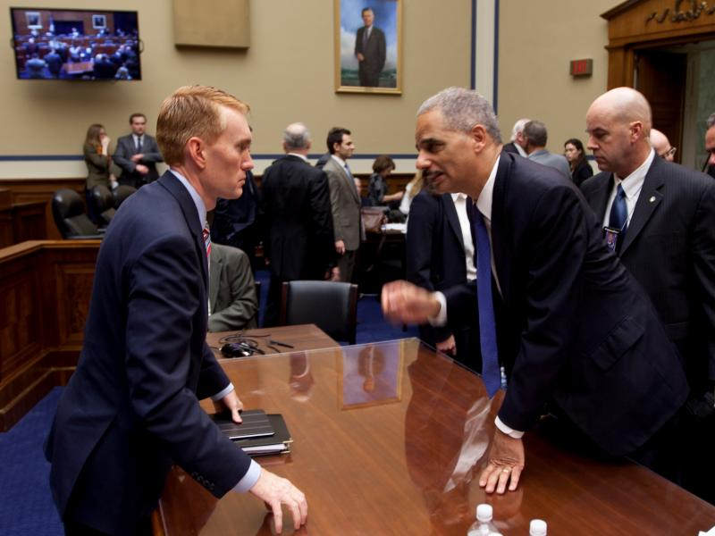 U.S. Rep. James Lankford (R-Okla. 5) and Attorney General Eric Holder after a House Committee on Oversight and Government Reform hearing - Feb. 2, 2012