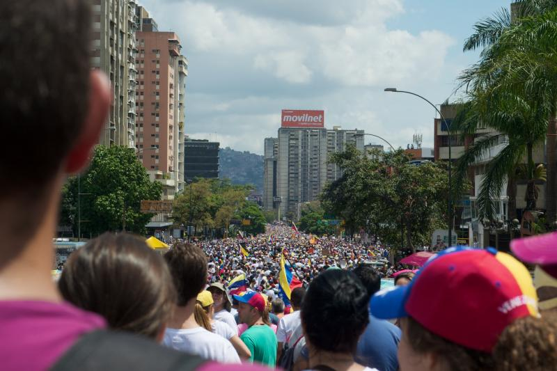 Thousands demonstrate against state violence in Venezuela in February 2014.