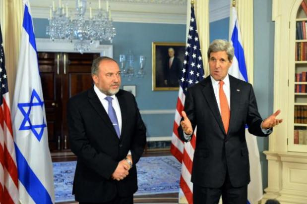U.S. Secretary of State John Kerry and Israeli Foreign Minister Avigdor Lieberman before their bilateral meeting at the U.S. Department of State in Washington, D.C., on April 9, 2014.
