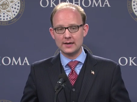 Oklahoma House Minority Leader Scott Inman (D-Del City) speaking to reporters April 17, 2014.