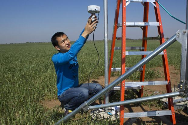 University of Oklahoma Ph.D. student and research assistant Yuting Zhou installs a sensor in an experimental wheat field at the Grazinglands Research Lab in El Reno, Okla.