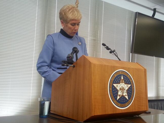State Superintendent Janet Barresi during an April 2014 press conference announcing problems with the state's standardized testing vendor.