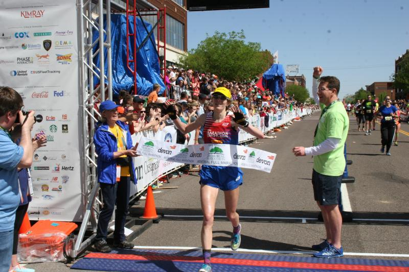 Camille Herron was the first woman to cross the finish line during Sunday's marathon. She finished fifth overall
