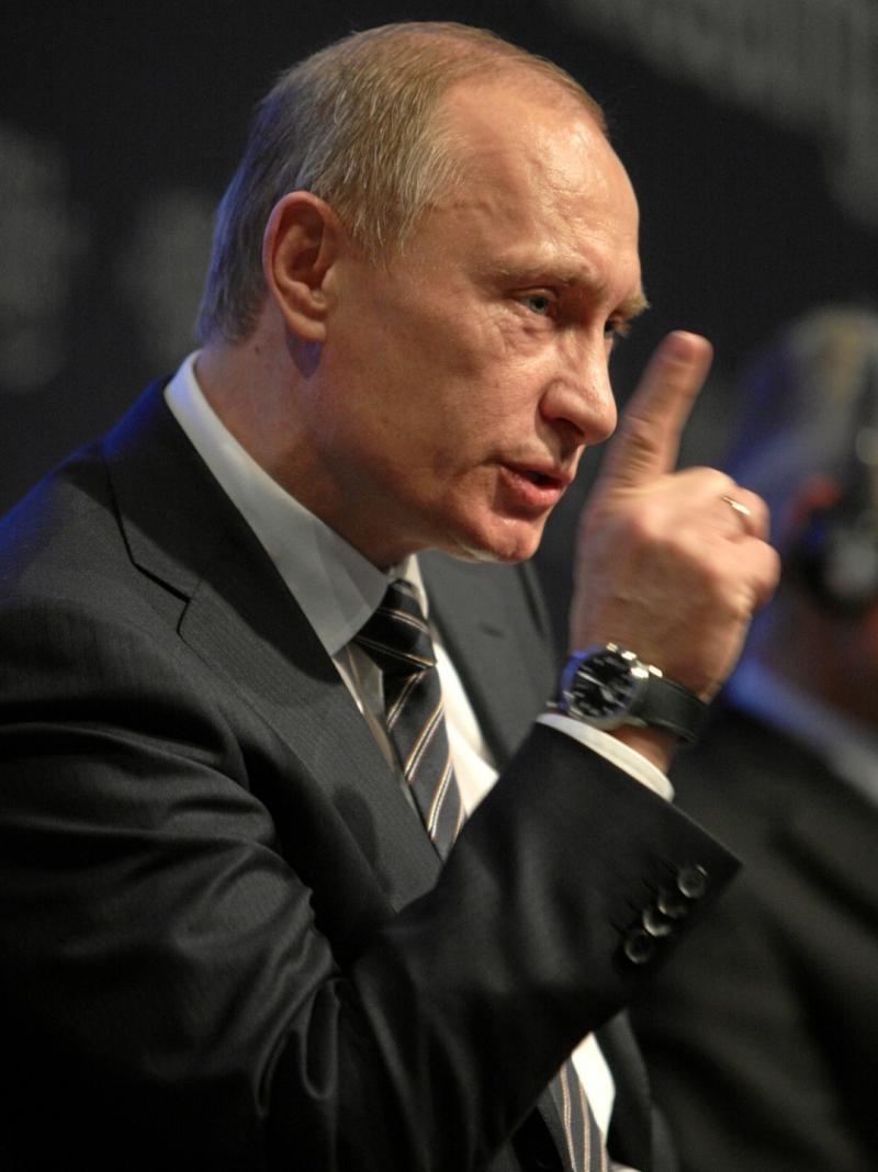 Russian President Vladimir Putin at the Annual Meeting 2009 of the World Economic Forum in Davos, Switzerland, January 29, 2009.