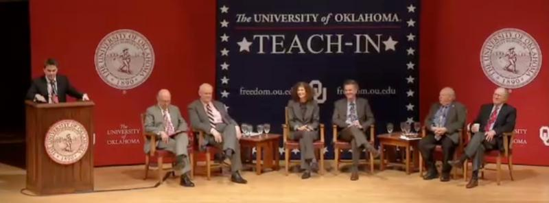 "The University of Oklahoma's 2014 Teach-In on the Civil War panel discussion ""Freedom in America and Civic Education"" (L-R): Kyle Harper, Ronald White, Allen Guelzo, Joan Waugh, Ed Ayers, Vernon Burton, John Wilmerding."