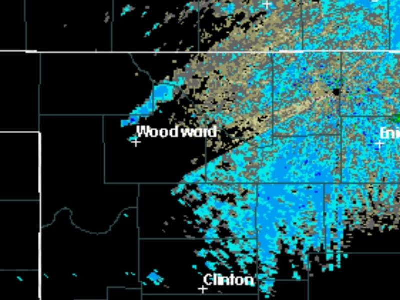 A National Weather Service radar signature showing the plume of smoke from a fire burning northwest of Woodward.