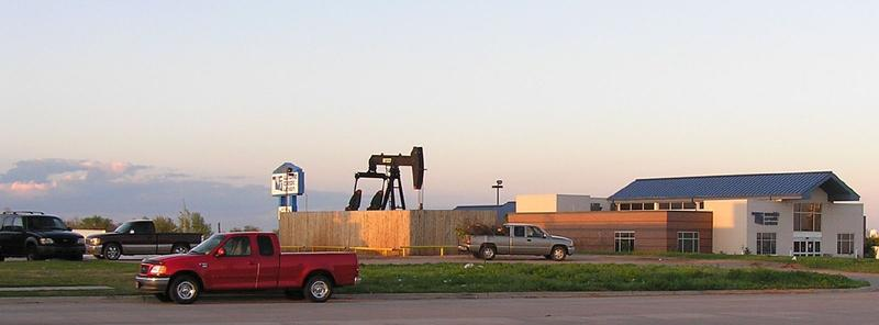 An oil well near a neighborhood in Yukon, Okla.