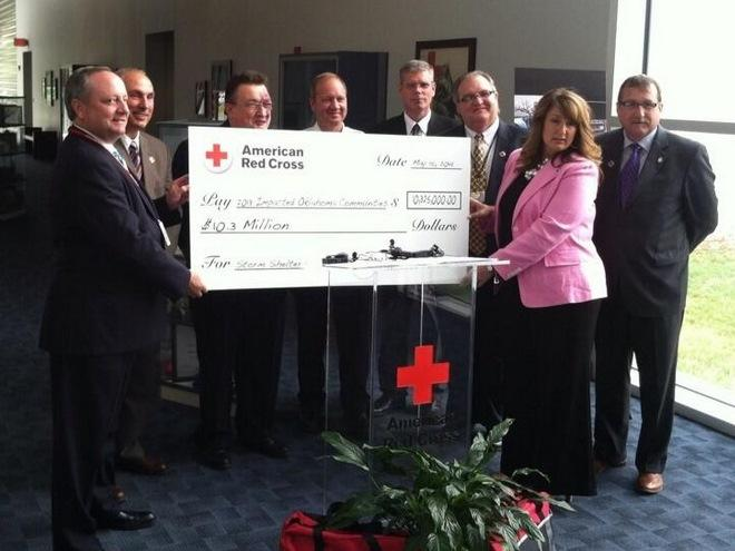 Red Cross officials Thursday afternoon announced a total of $10.3 million in grants to May 2013 storms affected communities to help their residents install shelters.