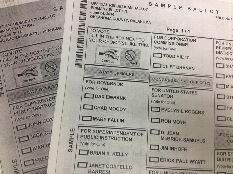 Sample ballots for the June 24 elections in Oklahoma County.