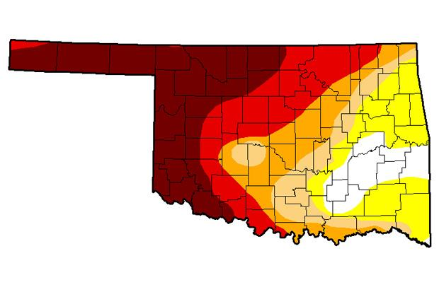 From the latest update of the U.S. Drought Monitor, showing most of western Oklahoma in extreme or exceptional drought, the worst categories.