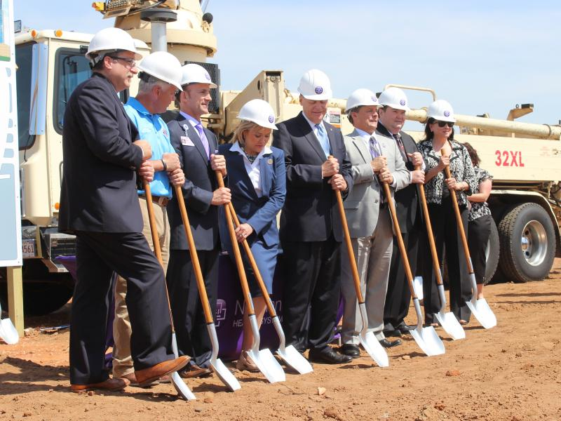 Gov. Mary Fallin, U.S. Rep. Tom Cole (R-Okla. 4), Moore Mayor Glenn Lewis, Norman Regional Health System President and CEO David Whitaker, and Moore Medical Center Administrator Richie Splitt break ground on the new hospital.