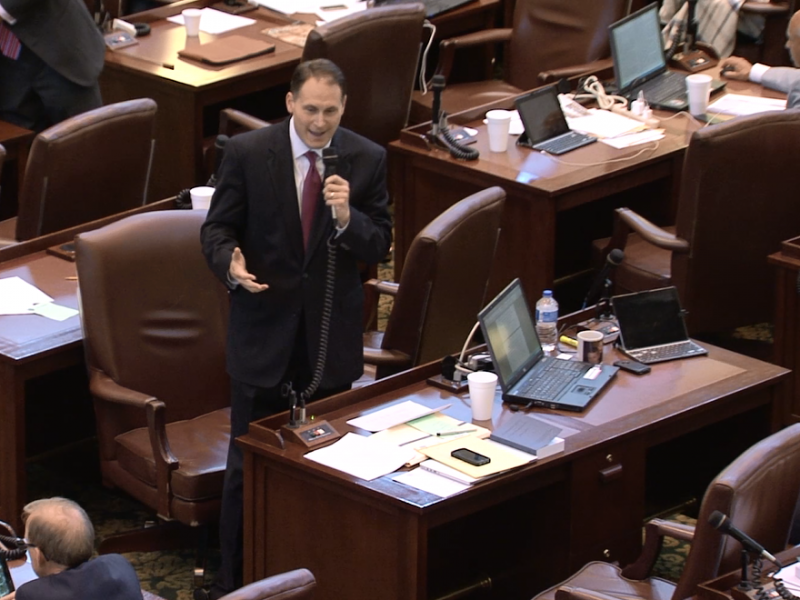 State Rep. Scott Martin (R-Norman) debates the budget bill on the House floor Thursday