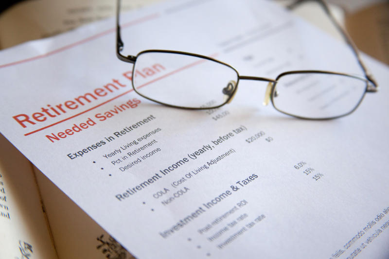 "eyeglasses on paper with heading ""Retirement Plan"""