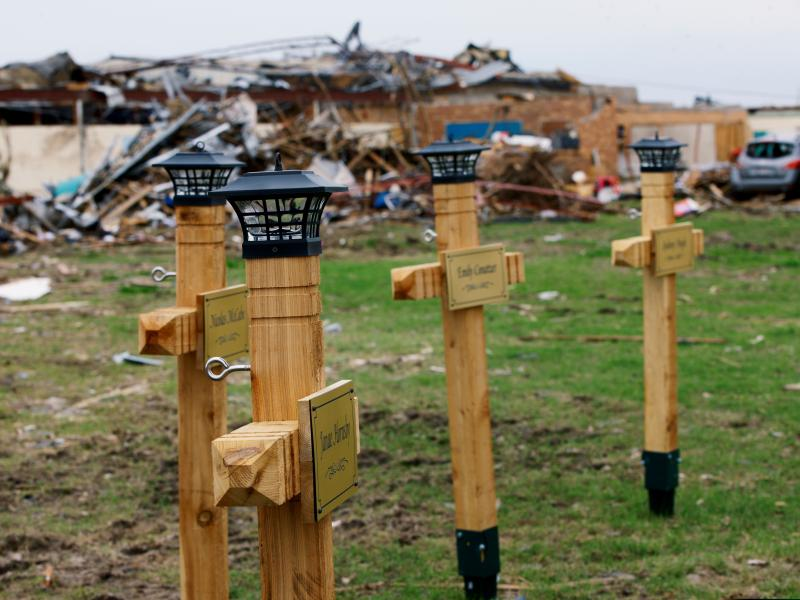 Wooden crosses at the Plaza Towers Elementary School in Moore, Okla., May 28, 2013, stand in memory of the seven students were killed during a tornado May 20, 2013.