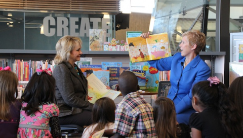 Gov. Mary Fallin and State Superintendent Janet Barresi read to students at the Patience S. Latting Northwest Library in Oklahoma City in 2013.