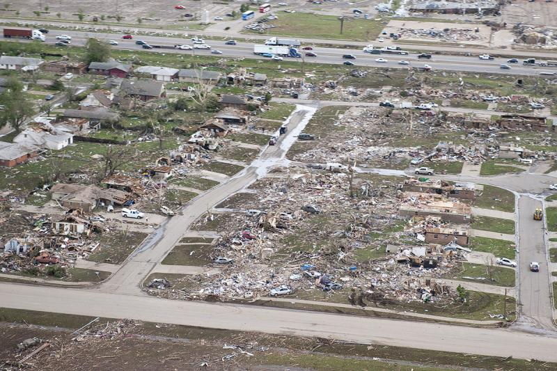 A photograph giving an overhead view of tornado damage in Moore, Oklahoma on May 21, 2013.