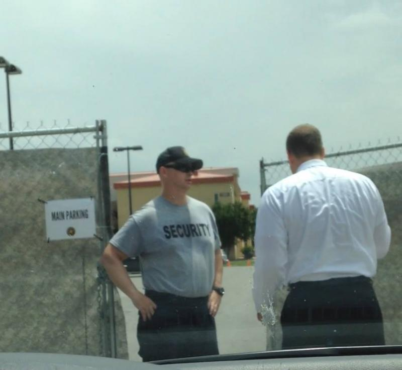 U.S. Rep. Jim Bridenstine attempts to enter the facility at Fort Sill where hundreds of unaccompanied minors were held.