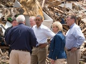 President Obama and FEMA head Craig Fugate meet with Moore mayor Glenn Lewis, Gov. Mary Fallin, and U.S. Rep. Tom Cole (R-Okla. 4) after the May 20, 2013 tornado.