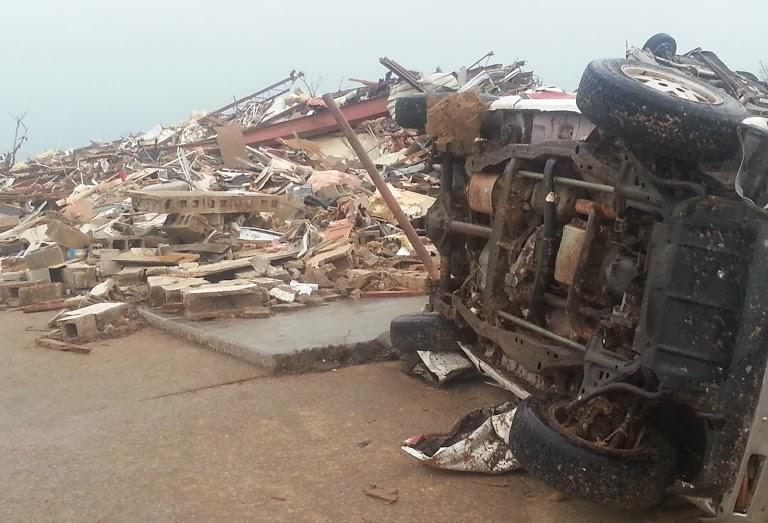 An overturned car after the May 20, 2013 tornado in Moore.