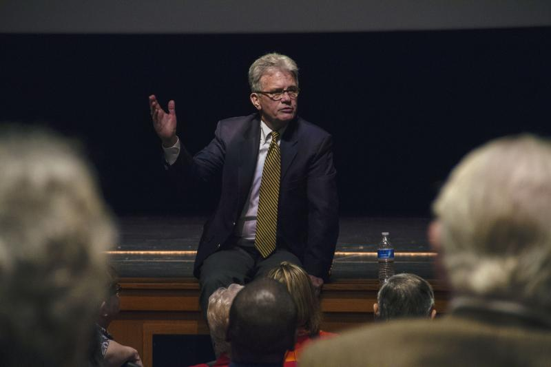U.S. Sen. Tom Coburn (R-Okla.) speaks to the crowd during the August 4 town hall at Oklahoma City Community College.