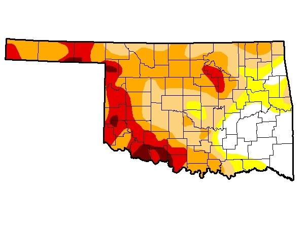 The latest U.S. Drought Monitor map for Oklahoma, released August 7, 2014