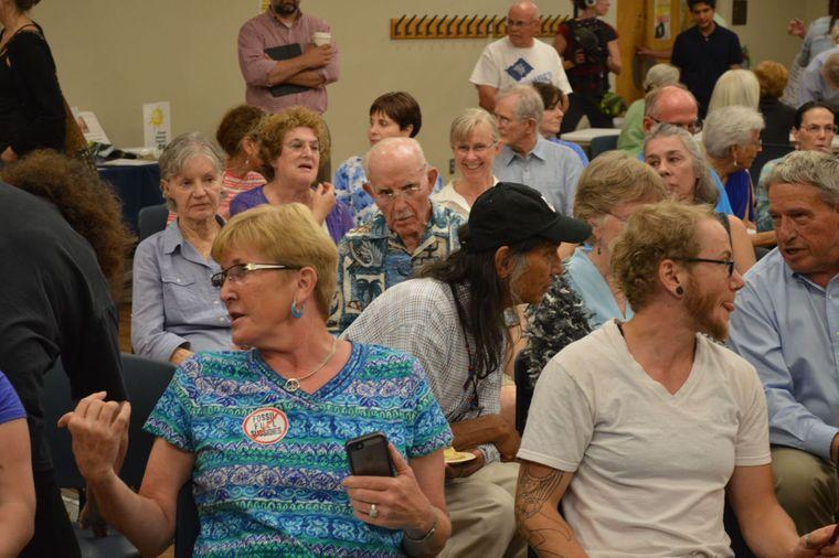 Many people concerned about fracking filled the library's Lowry room Monday night but supporters of oil and gas drilling also attended and spoke out.