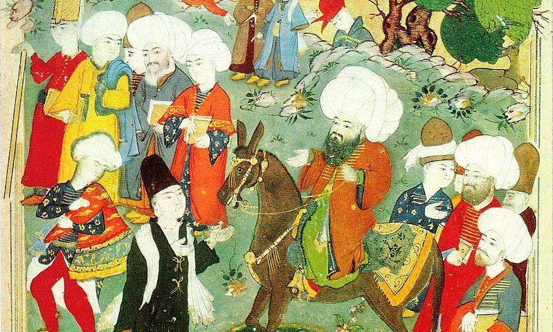 An Ottoman era manuscript depicting Jalal al-Din Rumi and Shams-e Tabrizi.
