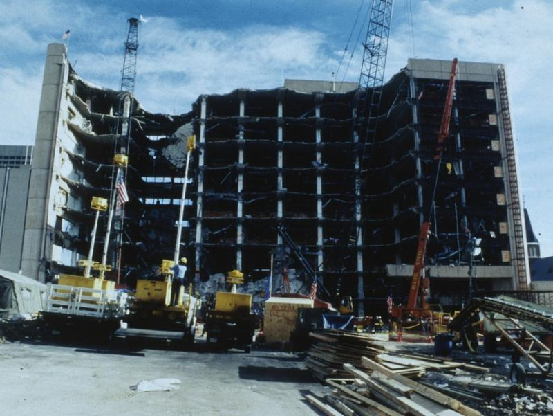 The devastated Alfred P. Murrah Building following the Oklahoma City bombing, April 25, 1995