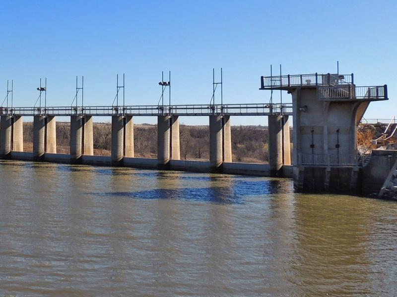 The dam at Lake Ellsworth in January 2014.