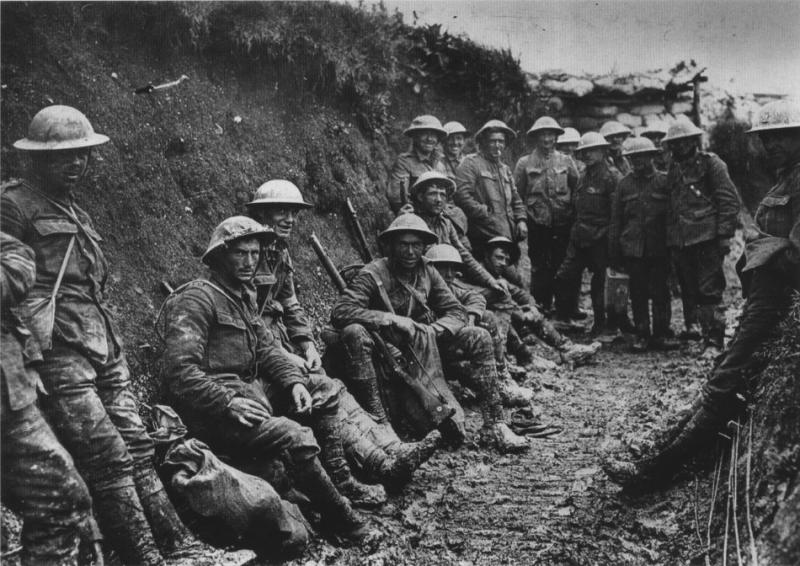 Royal Irish Rifles in a communications trench, first day on the Somme, 1916.