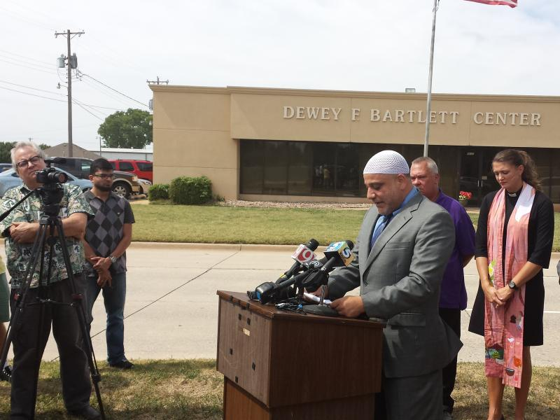 Oklahoma City University professor of Islamic Studies and Islamic Society of Greater Oklahoma City Imam Imad Enchassi  speaking during a September 17 press conference in Oklahoma City.