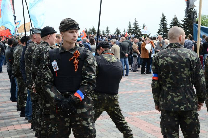 Insurgents in Donetsk.