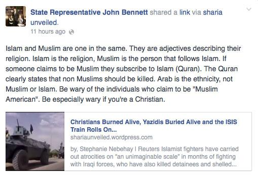 State Rep. John Bennett's (R-Sallisaw) Facebook post about Muslim-Americans.