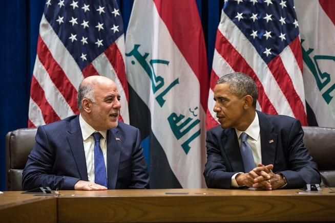 President Barack Obama and Prime Minister Haider al-Abadi of Iraq hold a bilateral meeting at the United Nations in New York, N.Y., Sept. 24, 2014.