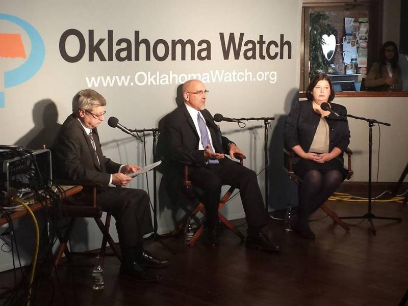(L-R) Oklahoma Watch executive editor David Fritze, Oklahoma City Public Schools Superintendent Robert Neu, and Associate Superintendent Aurora Lora