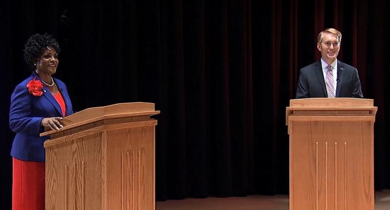 State Sen. Connie Johnson (D-Oklahoma City) and U.S. Rep. James Lankford (R-Okla. 5) during Tuesday night's U.S. Senate canddiate debate.