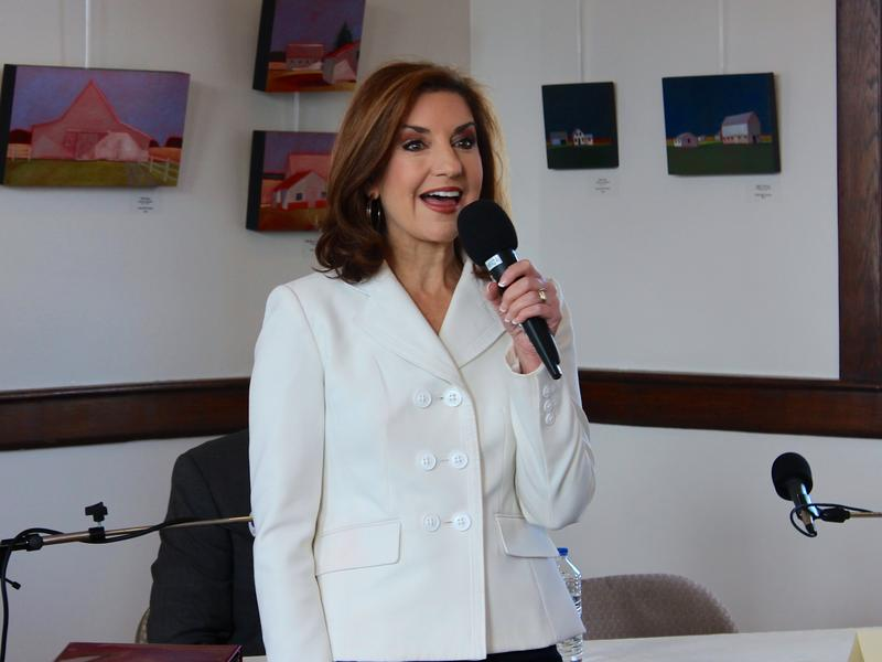 Joy Hofmeister speaks during an Oct. 19, 2014 debate in Norman.