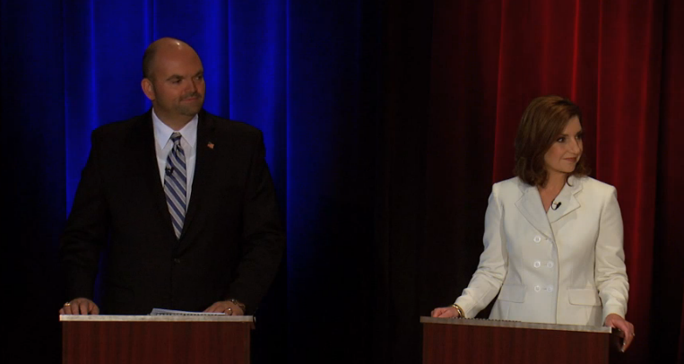 Democratic superintendent canddiate John Cox and Republican nominee Joy Hofmeister during Tuesday's debate at Oklahoma State University-Tulsa.