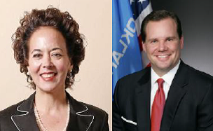 Democratic challenger for Lt. Governor, Cathy Cummings (l) and Republican incumbent, Lt. Governor Todd Lamb (r).