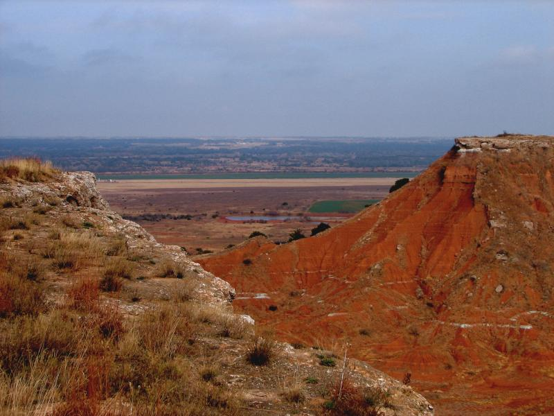 Gypsum embedded in the landscape at Gloss Mountain State Park in Major County.