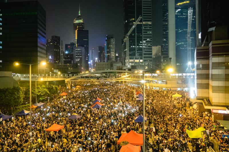 Demonstrators participating in Hong Kong's Umbrella Revolution - September 30, 2014